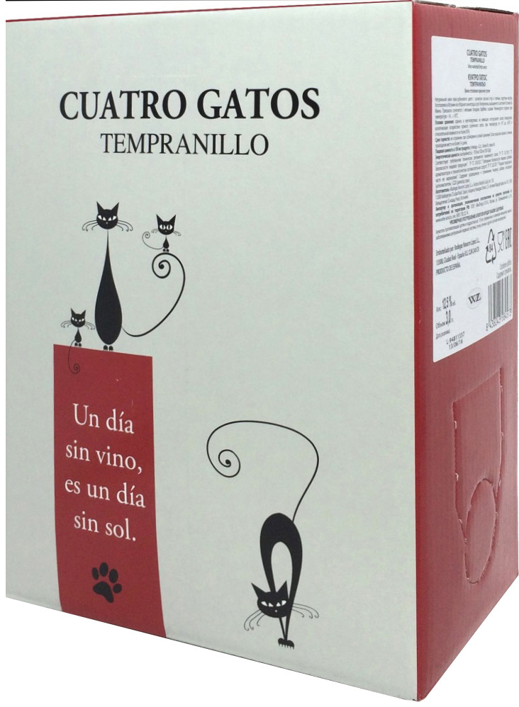 Navarro Lopez, Cuatro Gatos, Tempranillo, Seco, bag-in-box