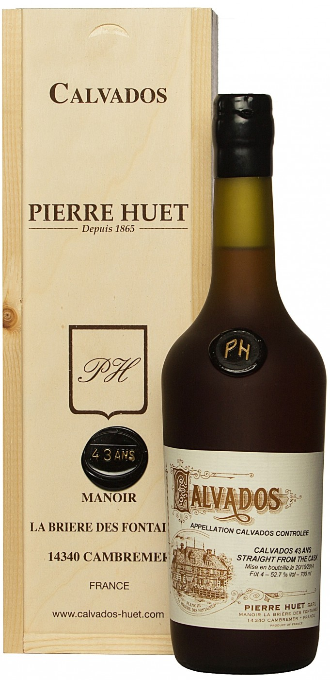 Pierre Huet Calvados 43 Ans Straight from The Cask, wooden box