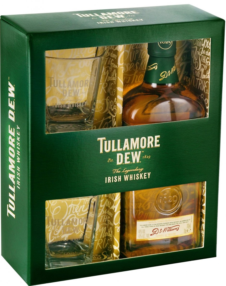 Tullamore Dew gift box with 2 glasses