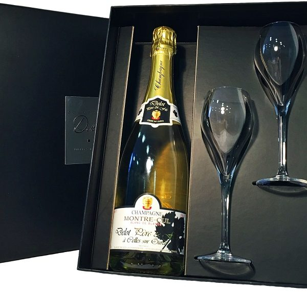 Champagne Delot Montre-Cul Brut Blanc de Blancs, gift box with 2 glasses