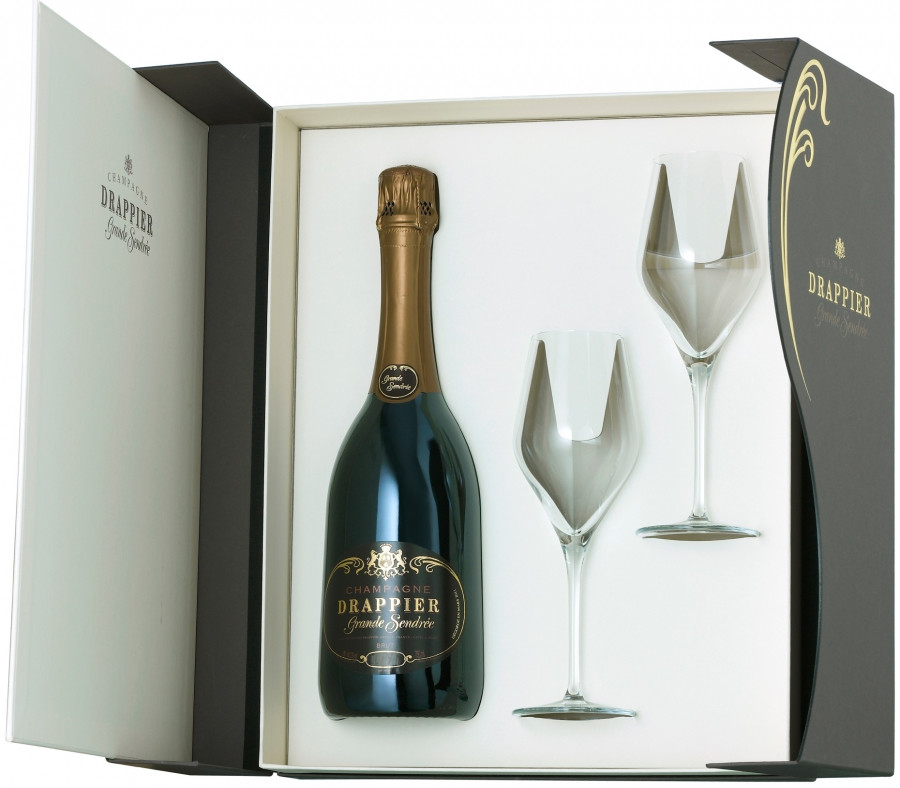 Champagne Drappier, Grande Sendree, Brut, Champagne, gift box with 2 glasses