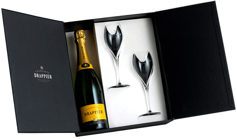 Champagne Drappier, Carte d`Or, Brut, gift box with 2 glasses