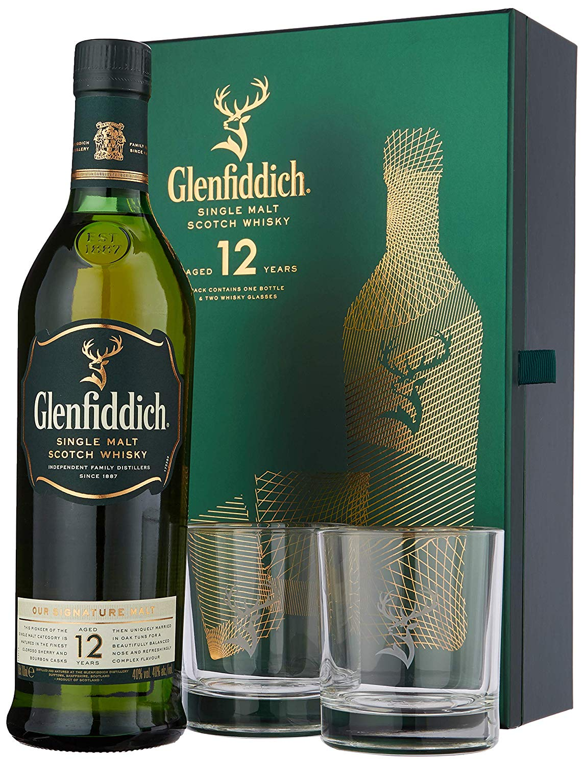 Glenfiddich 12yo gift set with glasses