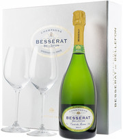 Besserat de Bellefon, Cuvee des Moines, Brut, gift box with 2 glasses