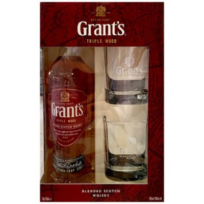 Grant`s, Triple Wood, 3 Years Old, gift box with 2 glasses
